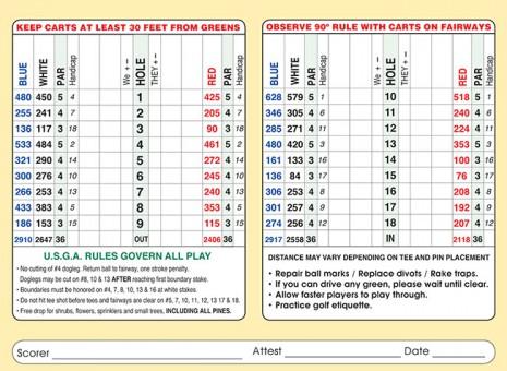 Thorne Hills Golf Scorecard
