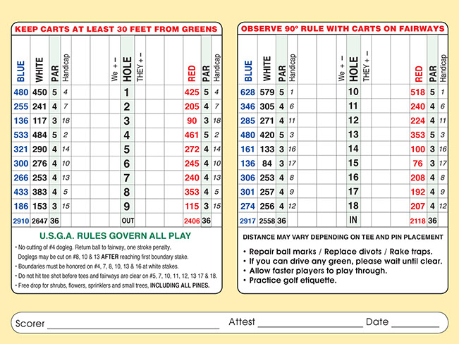 Thorne Hills Golf Scorecard
